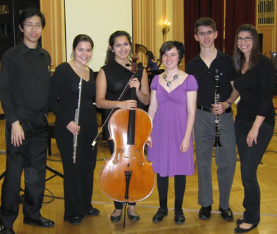The ensemble with Nell after the performance