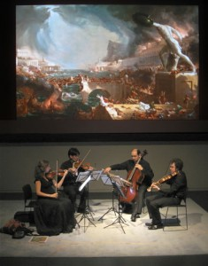 Rehearsal at PEM with projections of Thomas Cole's paintings