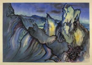 "Chiura Obata, ""Mono Crater, Sierra Nevada, California"""