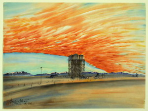 "Chiura Obata, ""Sunset, Watertower, March 10, 1943"""