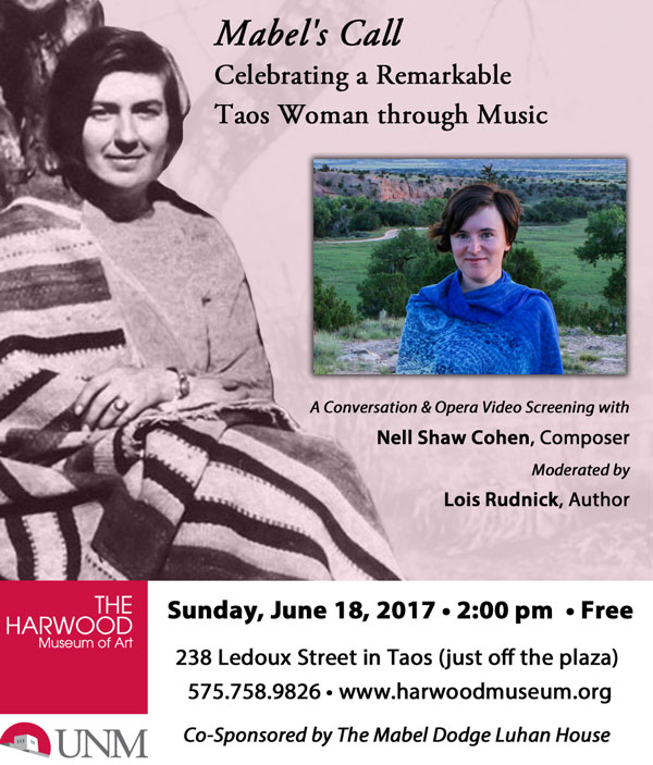 Ad for Mabel's Call: Celebrating a Remarkable Taos Woman through Music