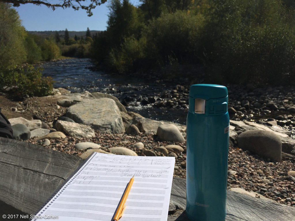 Composing at Brush Creek, September 2017.