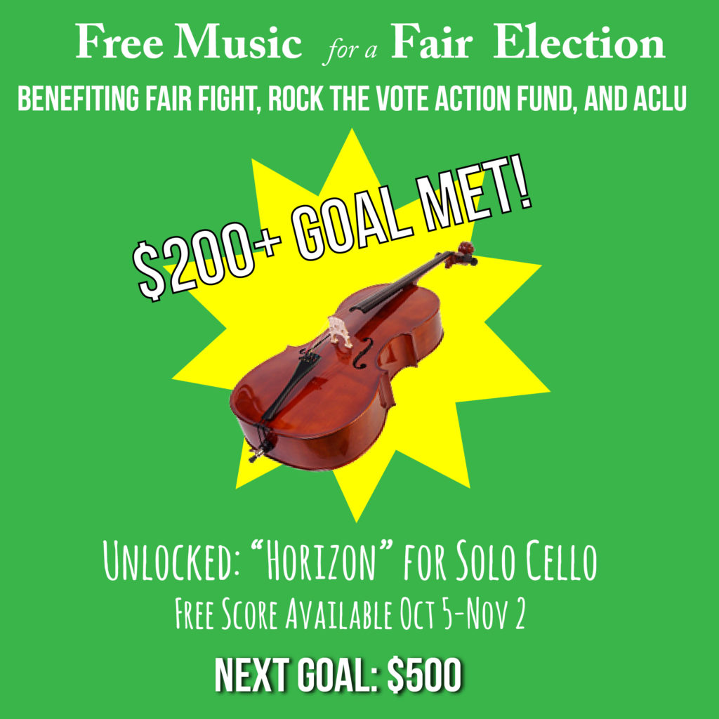 """$200+ Goal Met!"" with picture of cello over yellow starburst"