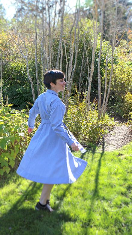 Nell Shaw Cohen, walking in birch tree grove